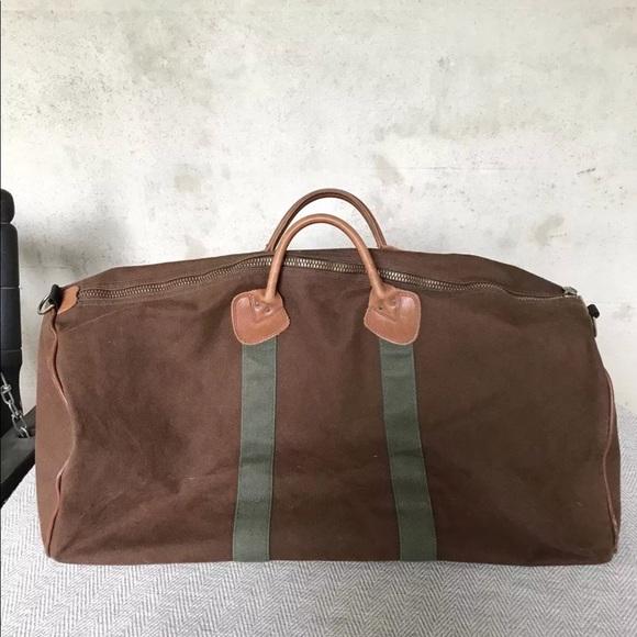L.L. Bean Bags   Vintage Ll Bean Brown Canvas Leather Duffle Bag ... 1b38dc9acf